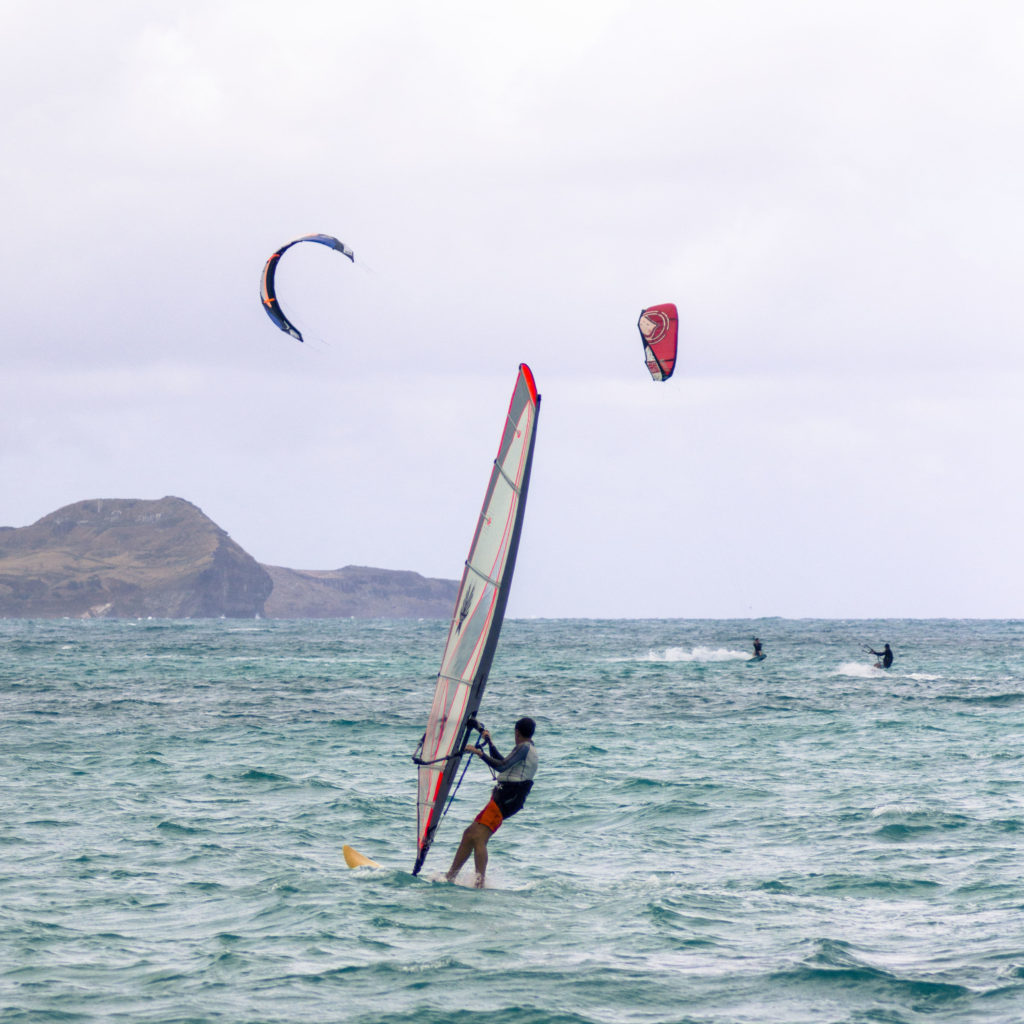 Kiters and windsurfers at Kailua Beach