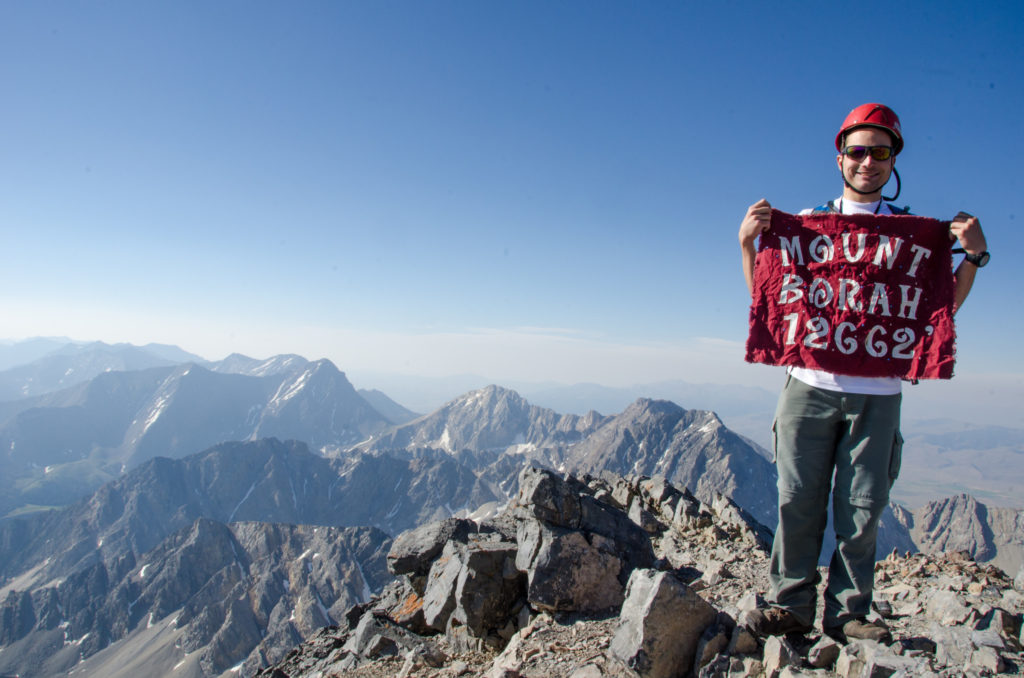 A couple of students from Brigham Young University-Idaho climb the tallest mountain in Idaho: Mount Borah.